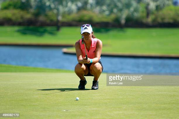 Minjee Lee of Australia line up her putt on 11th hole at round 3 on Day 6 of Blue Bay LPGA 2015 at Jian Lake Blue Bay golf course on October 31 2015...