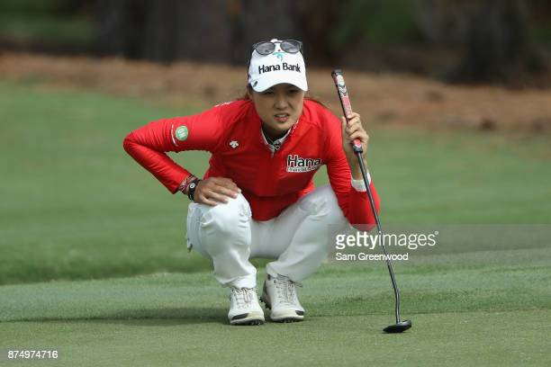 Minjee Lee of Australia lines up a putt on the sixth green during round one of the CME Group Tour Championship at the Tiburon Golf Club on November...