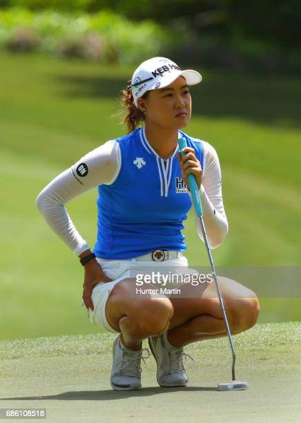 Minjee Lee of Australia lines up her putt on the third hole during the third round of the Kingsmill Championship presented by JTBC on the River...