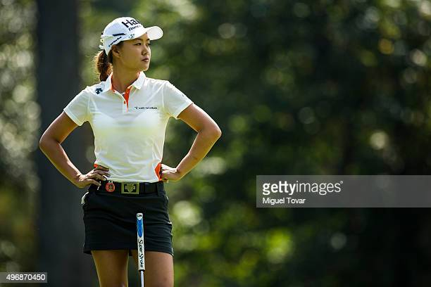 Minjee Lee of Australia looks on during the first round of Lorena Ochoa Invitational 2015 at Golf de Mexico Club on November 12 2015 in Mexico City...