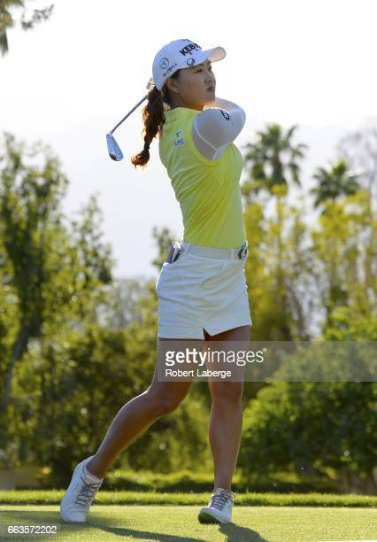 Minjee Lee of Australia makes a tee shot on the 17th hole during the third round of the ANA Inspiration on the Dinah Shore Tournament Course at...