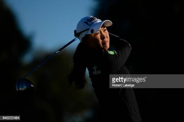 Minjee Lee of Australia makes a tee shot on the second hole during round two of the ANA Inspiration on the Dinah Shore Tournament Course at Mission...