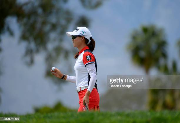 Minjee Lee of Australia on the first green during the final round of the ANA Inspiration on the Dinah Shore Tournament Course at Mission Hills...