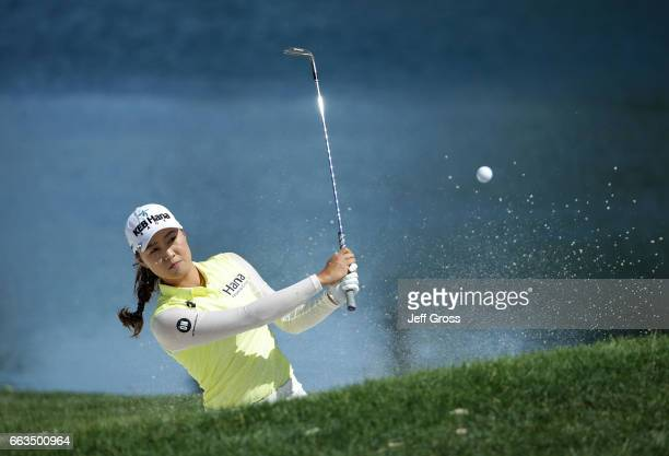 Minjee Lee of Australia plays a bunker shot to the fifth green during the third round of the ANA Inspiration at the Dinah Shore Tournament Course at...