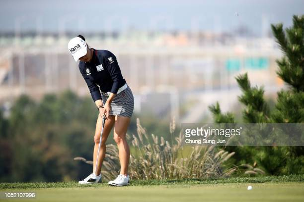 MinJee Lee of Australia plays a putt on the 6th green during the final round of the LPGA KEB Hana Bank Championship at Sky 72 Golf Club on October 14...