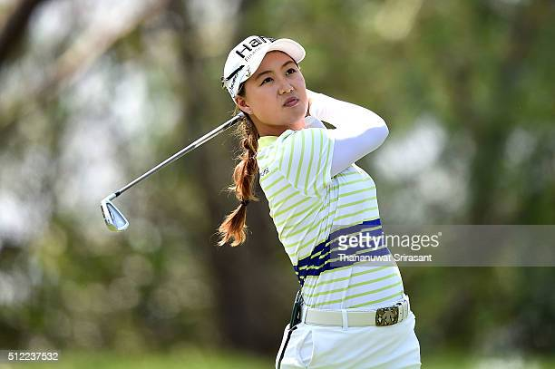 Minjee Lee of Australia plays a shot during day one of the 2016 Honda LPGA Thailand at Siam Country Club on February 25 2016 in Chon Buri Thailand