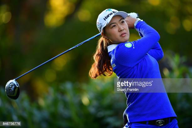 Minjee Lee of Australia plays a shot during the first round of The Evian Championship at Evian Resort Golf Club on September 14 2017 in EvianlesBains...