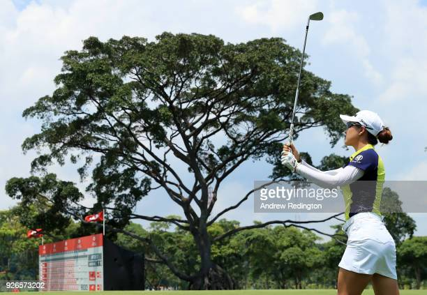 Minjee Lee of Australia plays a shot on the 18th hole during round three of the HSBC Women's World Championship at Sentosa Golf Club on March 3 2018...