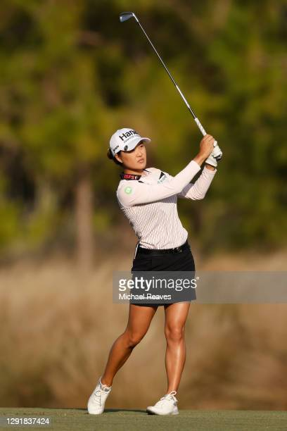 Minjee Lee of Australia plays a shot on the 18th hole during the first round of the CME Group Tour Championship at Tiburon Golf Club on December 17,...