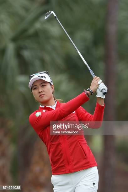 Minjee Lee of Australia plays a shot on the second hole during round one of the CME Group Tour Championship at the Tiburon Golf Club on November 16...