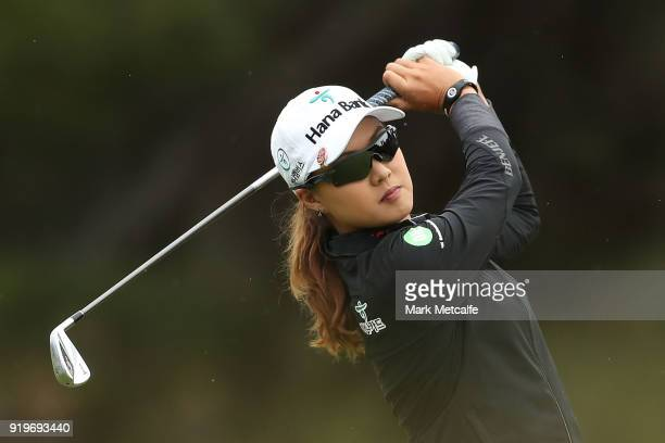Minjee Lee of Australia plays her second shot on the 1st hole during day four of the ISPS Handa Australian Women's Open at Kooyonga Golf Club on...