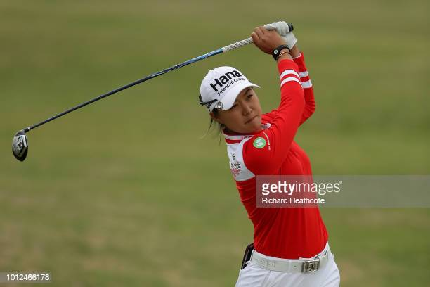 Minjee Lee of Australia plays her second shot on the 6th hole during day two of Ricoh Women's British Open at Royal Lytham St Annes on August 3 2018...