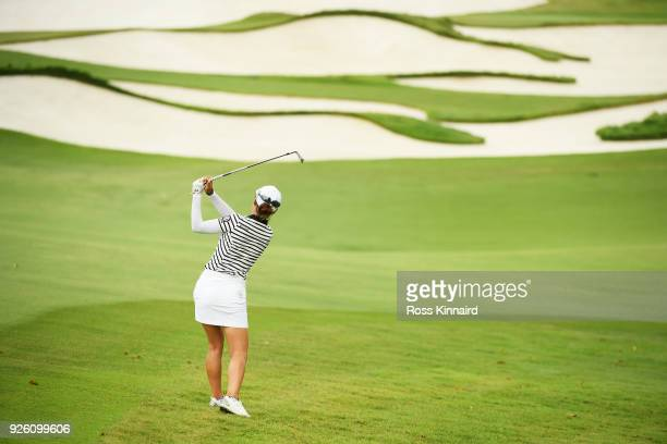 Minjee Lee of Australia plays her second shot on the eighth hole during round two of the HSBC Women's World Championship at Sentosa Golf Club on...