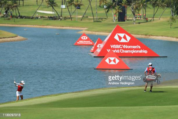 Minjee Lee of Australia plays her second shot on the fifth hole during the final round of the HSBC Women's World Championship at Sentosa Golf Club on...