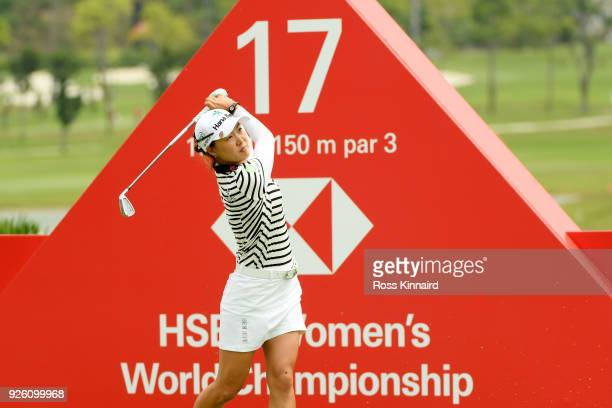 Minjee Lee of Australia plays her shot from the 17th tee during round two of the HSBC Women's World Championship at Sentosa Golf Club on March 2 2018...