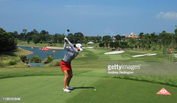Minjee Lee of Australia plays her shot from the fifth tee during the third round of the HSBC Women's World Championship at Sentosa Golf Club on March...