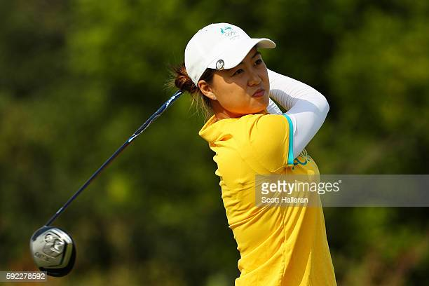 Minjee Lee of Australia plays her shot from the fifth tee during the Women's Golf Final on Day 15 of the Rio 2016 Olympic Games at the Olympic Golf...