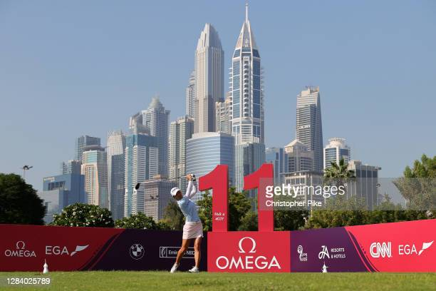 Minjee Lee of Australia plays her tee shot on the 11th hole during Day Two of the Omega Dubai Moonlight Classic at Emirates Golf Club on November 05,...
