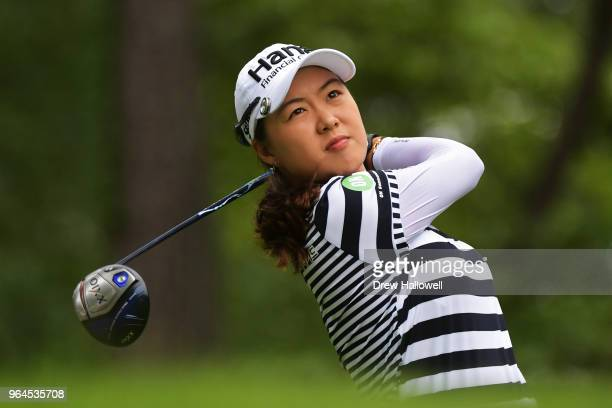 Minjee Lee of Australia plays her tee shot on the 14th hole during the first round of the 2018 US Women's Open at Shoal Creek on May 31 2018 in Shoal...