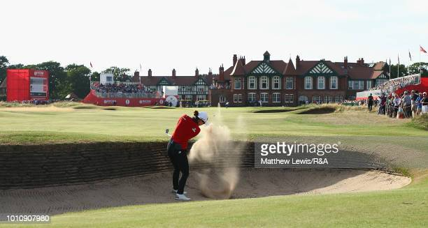 Minjee Lee of Australia plays out of a bunker on the 18th hole during day three of the Ricoh Women's British Open at Royal Lytham St Annes on August...