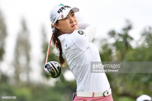 Minjee Lee of Australia plays the shot during the final round of Honda LPGA Thailand at Siam Country Club on February 26 2017 in Chonburi Thailand