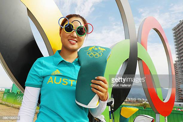 Minjee Lee of Australia poses during a practice round prior to the start of the women's golf during Day 11 of the Rio 2016 Olympic Games at Olympic...