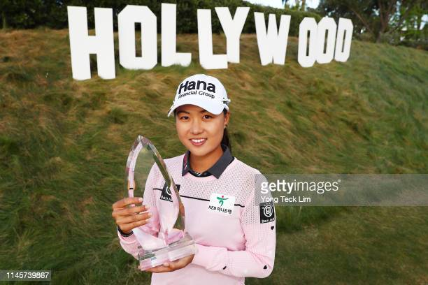 Minjee Lee of Australia poses for photos with the winner's trophy after winning the HUGELAIR PREMIA LA Open at Wilshire Country Club on April 28 2019...