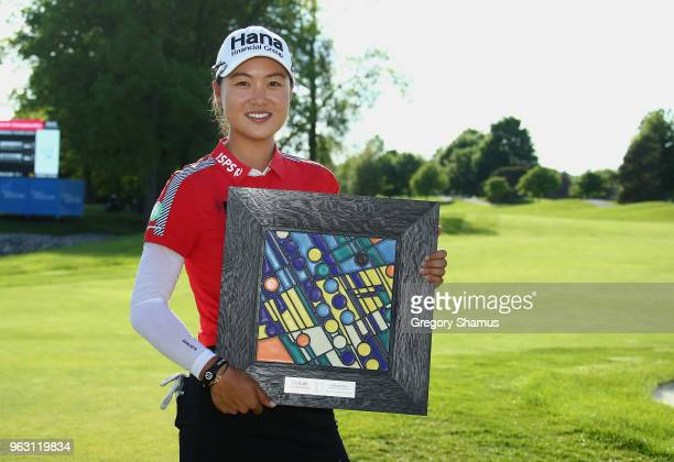 MinJee Lee of Australia poses with the championship trophy after winning the LPGA Volvik Championship on May 27 2018 at Travis Pointe Country Club...