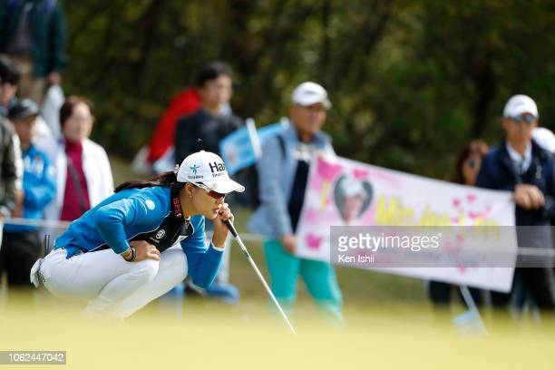 Minjee Lee of Australia prepares to putt on the first green during the first round of the TOTO Japan Classic at Seta Golf Course on November 02 2018...