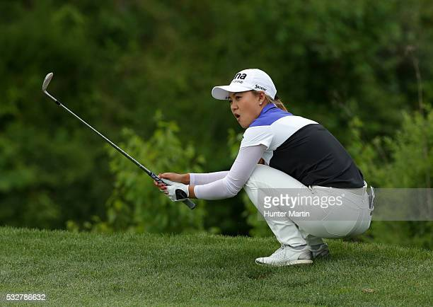 Minjee Lee of Australia reacts after hitting her third shot on the 18th hole during the first round of the Kingsmill Championship presented by JTBC...