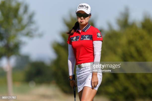 MInjee Lee of Australia reacts after missing her birdie attempt on during the LPGA Volunteers of America Texas Classic on May 5 2018 at the Old...