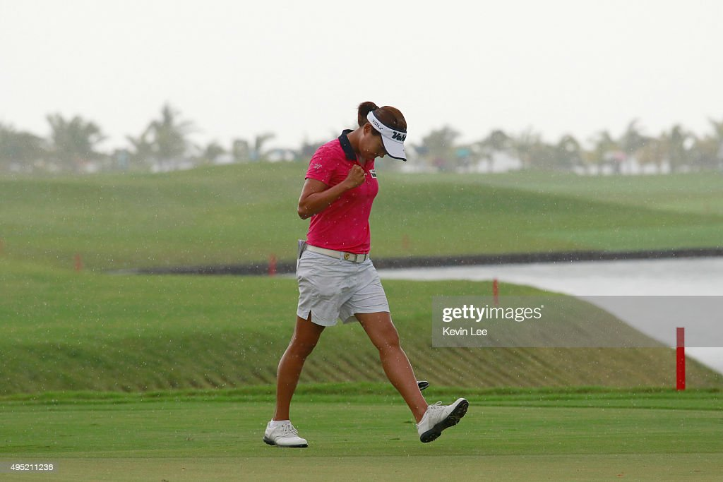 Minjee Lee of Australia reacts after she play a shot at the final round on Day 7 of Blue Bay LPGA 2015 at Jian Lake Blue Bay golf course on November 1, 2015 in Hainan Island, China.