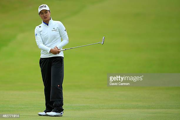 Minjee Lee of Australia reacts on the 7th green during the Final Round of the Ricoh Women's British Open at Turnberry Golf Club on August 2 2015 in...