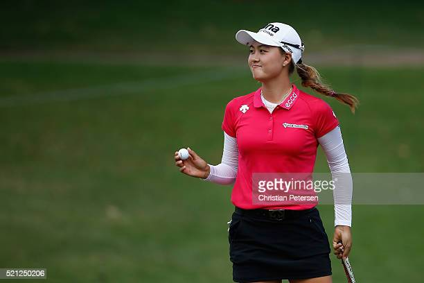 Minjee Lee of Australia reacts to a birdie putt on the eighth green during the second round of the LPGA LOTTE Championship Presented By Hershey at Ko...