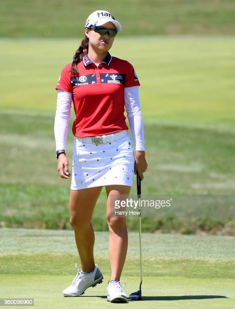 Minjee Lee of Australia reacts to her missed putt for birdie on the third green during round four of the HugelJTBC Championship at the Wilshire...