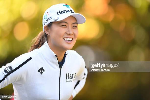 Minjee Lee of Australia smiles during the final round of the TOTO Japan Classics 2017 at the Taiheiyo Club Minori Course on November 5 2017 in...