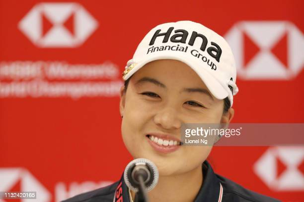 Minjee Lee of Australia speaks to the media during a press conference prior to the HSBC Women's World Championship at Sentosa Golf Club on February...