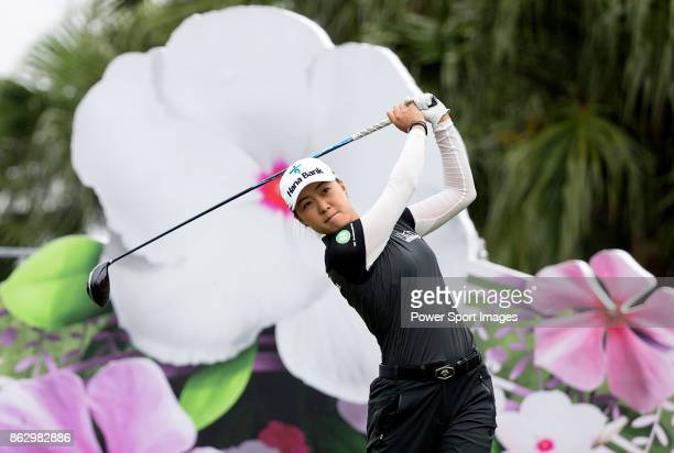 Minjee Lee of Australia tees of on the first hole during day one of Swinging Skirts LPGA Taiwan Championship on October 19 2017 in Taipei Taiwan