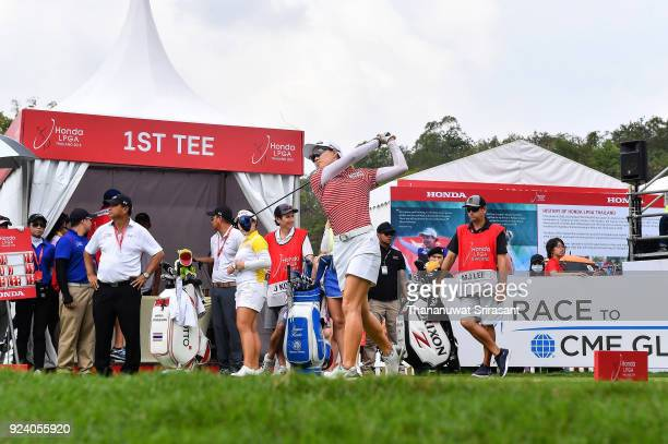 Minjee Lee of Australia tees off at 1st hole during the Honda LPGA Thailand at Siam Country Club on February 25 2018 in Chonburi Thailand