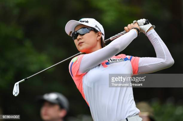 Minjee Lee of Australia tees off at 4th hole during the Honda LPGA Thailand at Siam Country Club on February 24 2018 in Chonburi Thailand