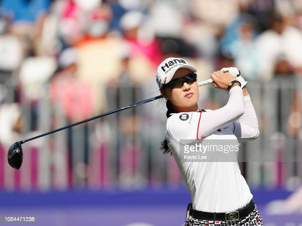 Minjee Lee of Australia tees off at first hole during the final round of the Swinging Skirts LPGA Taiwan Championships at Ta Shee Golf Country Club...