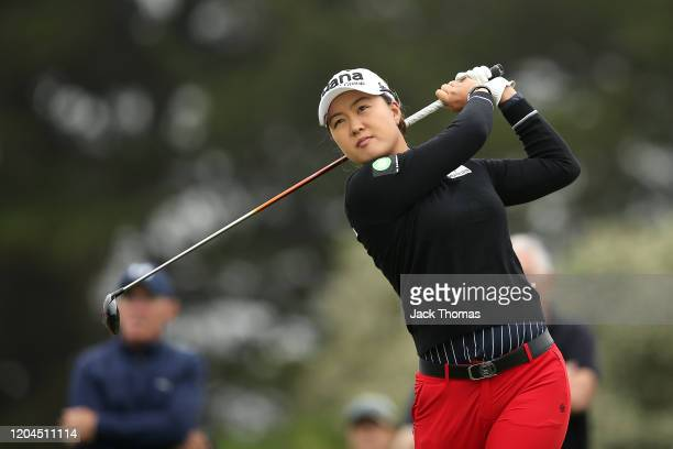 Minjee Lee of Australia tees off on the 14th Creek Course hole during Day Two of the ISPS Handa Vic Open at 13th Beach Golf Club on February 07, 2020...