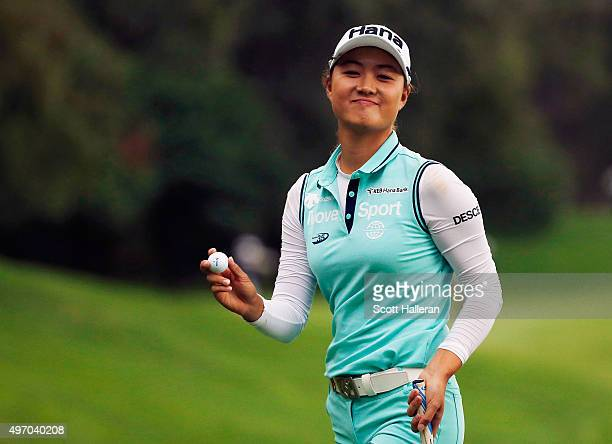 Minjee Lee of Australia walks off the 11th green during the second round of the Lorena Ochoa Invitational Presented By Banamex at the Club de Golf...