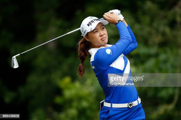 Minjee Lee of Australia watches her tee shot on the seventh hole during the final round of the LPGA Volvik Championship on May 28 2017 at Travis...