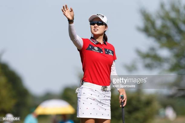 Minjee Lee of Australia waves on the green during the LPGA Volunteers of America Texas Classic on May 5 2018 at the Old American Golf Club in The...