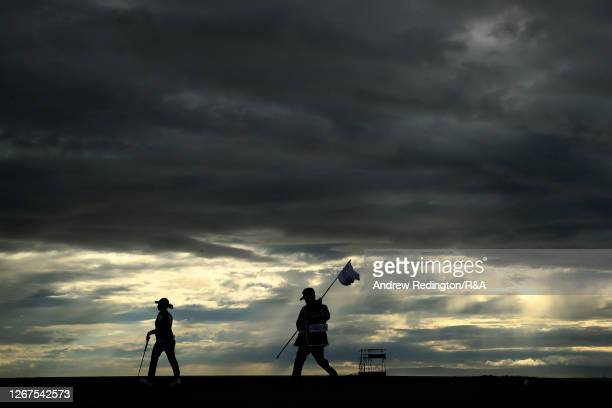 MinjeeLee of Australia and her caddie look on the 17th green during Day Two of the AIG Women's Open 2020 at Royal Troon on August 21, 2020 in Troon,...