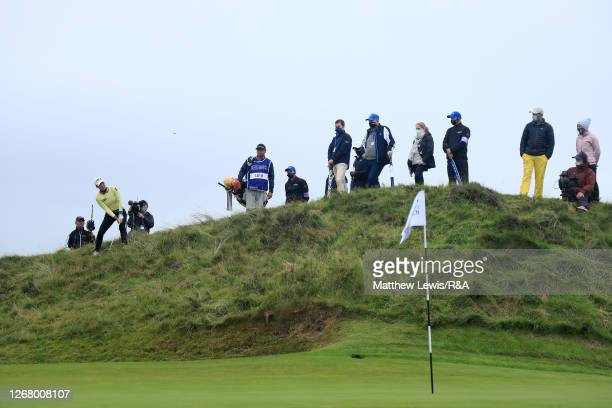 MinjeeLee of Australia plays her second shot on the 8th hole during Day Four of the 2020 AIG Women's Open at Royal Troon on August 23, 2020 in...