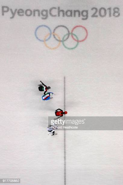 Minjeong Choi of Korea Arianna Fontana of Italy Sofia Prosvirnova of Olympic Athlete from Russia Kexin Fan of China compete during the Ladies' 500m...