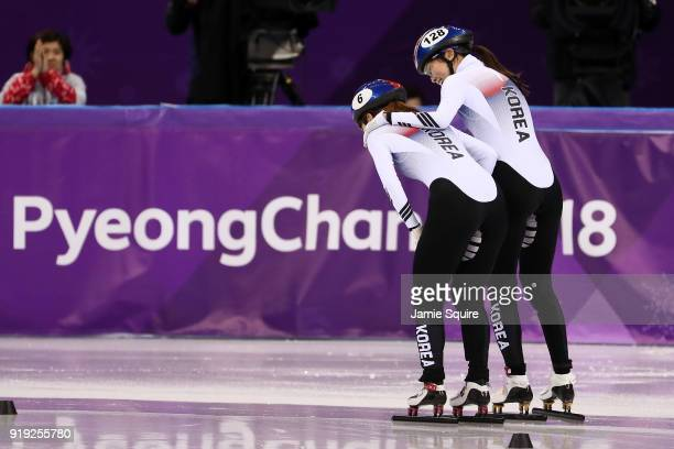 Minjeong Choi of Korea celebrates after winning the gold medal with teammate Alang Kim of Korea during the Short Track Speed Skating Ladies' 1500m...