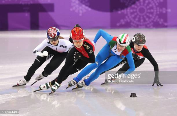 Minjeong Choi of Korea Chunyu Qu of China Martina Valcepina of Italy and Petra Jaszapati of Hungary compete during the Ladies' 500m Short Track Speed...
